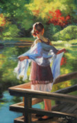Backlit Painting Framed Prints - Sunlit Porch Framed Print by Anna Bain