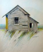 Shack Drawings Prints - Sunlit shack Print by Rick Anderson