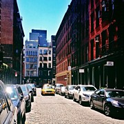 Landscapes Posters - Sunlit Soho Street - New York City Poster by Vivienne Gucwa