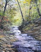 Fall Trees With Stream. Art - Sunlit Stream by Penny Neimiller