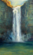 Ithaca Painting Prints - Sunlit Waterfall Print by Joyce Huntington