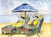 Beach Drawings Prints - Sunlovers Print by Eva Ason