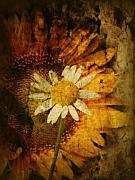 Floral Mixed Media Metal Prints - Sunny Antiqued Metal Print by Tingy Wende