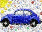 Vw Beetle Mixed Media Framed Prints - Sunny Blue VW Bug Mosaic Framed Print by Paul Van Scott