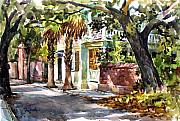 Street Scenes Painting Posters - Sunny Charleston South Carolina Poster by Tony Van Hasselt