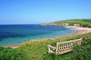 Bench Posters - Sunny Day At Thurlestone Beach Poster by Photo by Andrew Boxall
