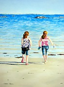 Sisters Pastels Framed Prints - Sunny Day Galway Beach Framed Print by Colleen Quinn