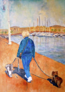 Barcelona Painting Originals - Sunny Day in Barcelona by P Maure Bausch