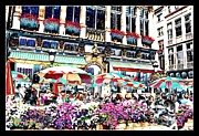 Outdoor Cafes Metal Prints - Sunny Day on the Grand Place Metal Print by Carol Groenen