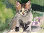 Watercolor Cat Paintings - Sunny Day by Yuliya Podlinnova