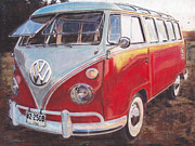 Volkswagen Pastels Prints - Sunny Days Print by Sharon Poulton