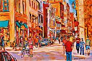 Cityscenes Painting Framed Prints - Sunny Downtown  Framed Print by Carole Spandau