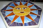 Stone Glass Art - Sunny Face by Liz Shepard