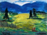 Painter Drawings Prints - Sunny Field Print by Mary Carol Williams