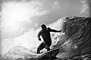 Surf Silhouette Prints - Sunny Garcia in Black and White Print by Paul Topp