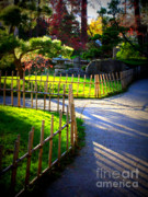 Streaming Light Prints - Sunny Garden Path Print by Carol Groenen