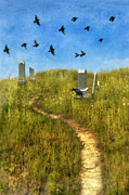 Headstones Prints - Sunny Graveyard with Birds Print by Jill Battaglia