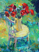 Red Prints Drawings Framed Prints - Sunny Impressionistic rose flowers still life painting Framed Print by Svetlana Novikova
