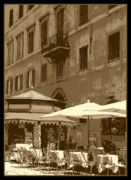 Outdoor Cafes Metal Prints - Sunny Italian Cafe - Sepia Metal Print by Carol Groenen