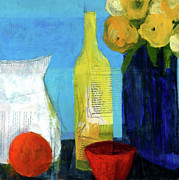 Wine Bottle Mixed Media - Sunny Kitchen by Laurie Breen