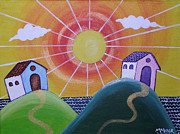 Sun Rays Painting Prints - Sunny Print by Monica Moser