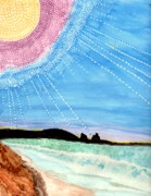 Colorfull Paintings - Sunny Ocean Days Are Bigger Than Life by Connie Valasco