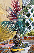 Potted Drawings Metal Prints - Sunny Palms Metal Print by Mindy Newman