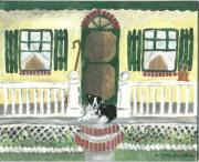 Collie Painting Framed Prints - Sunny Porch Framed Print by Sue Ann Thornton
