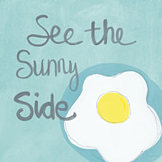 White Mixed Media Framed Prints - Sunny Side Up Framed Print by Linda Woods