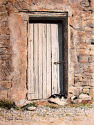 Old Door Pastels Framed Prints - Sunny Spot For Sammy Framed Print by Colleen Quinn