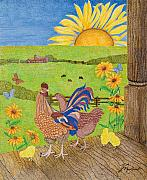 Rail Drawings - Sunny Sunday by Judy Cheryl Newcomb