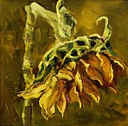 Sunflower Oil Paintings - Sunny Sunflower by Diane Whitehead