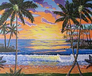 Key West Paintings - Sunny Sunset by John Moon