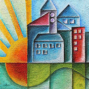 Sun Rays Paintings - Sunny Town by Jutta Maria Pusl