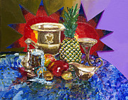 Glass Table Reflection Painting Originals - Sunny Tropical Fruits  by Yelena Rubin