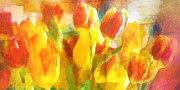 Popart Mixed Media Prints - Sunny Tulips Print by Lutz Baar