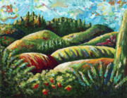 Italian Landscapes Paintings - Sunny Tuscan Hills by Shawna Elliott