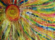 Sun Rays Painting Prints - Sunrain Print by Judith Redman