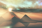 Tutankhamen Prints - Sunrays Shine Down On Three Pyramids Print by Corey Ford
