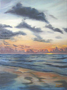 Oceanscape Paintings - Sunrise 02 by Adam Johnson