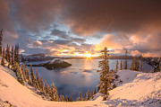 Crater Lake Prints - Sunrise after Summer Snowfall Print by Greg Nyquist