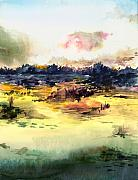 Landscape Mixed Media Originals - Sunrise by Anil Nene