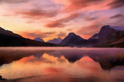 Rocky Mountains Digital Art - Sunrise at Bow Lake by Teresa Zieba