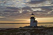 Lighthouse Prints - Sunrise at Brant Point Nantucket Print by Henry Krauzyk