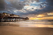 Sunrise At Cocoa Beach Pier Print by Will Tan