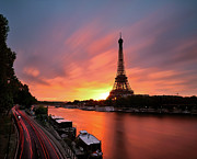 Light Trail Prints - Sunrise At Eiffel Tower Print by © Yannick Lefevre - Photography