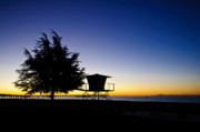Surf Silhouette Prints - Sunrise at Goleta Beach Print by Connie Cooper-Edwards