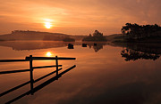 Boats In Water Prints - Sunrise at Knapps Loch Print by Grant Glendinning