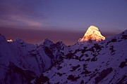 Alpenglow Prints - Sunrise At Mt. Ama Dablam Print by Pal Teravagimov Photography