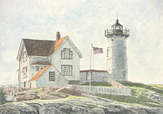 York Maine Prints - Sunrise at Nubble Light Print by Dominic White